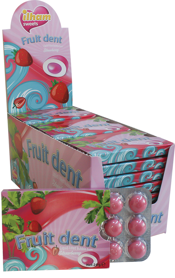 12 FRUITDENT DRAGEE BLISTER STRAWBERRY