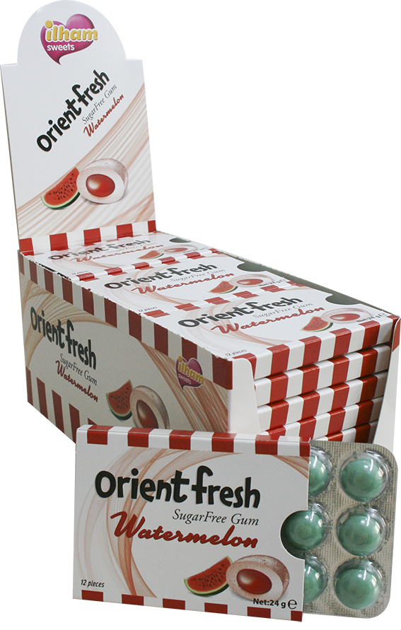 12 ORIENT FRESH DRAGEE BLISTER WATERMELON - SUGAR FREE